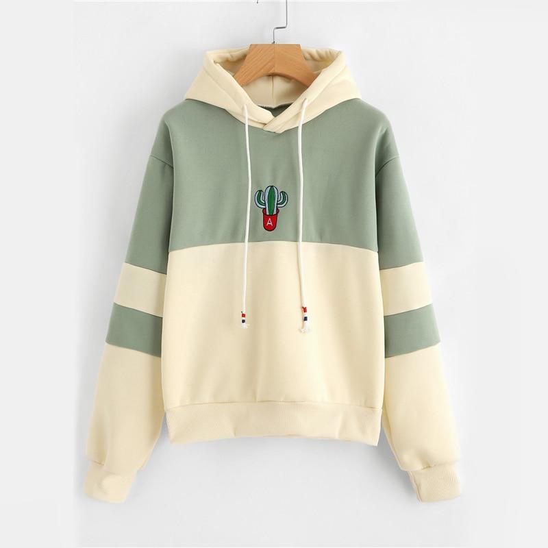Damen Casual Sportliche Pullover Sweatshirt Dropshipping Kordelzug Farbe Block Kaktus Bestickt Hoodie SpringAutumn Langarm