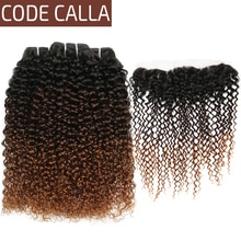 Kinky Curly Hair 3 Bundles with Frontal Brazilian Ombre Curly Weave Human Hair Bundles with 13*4 Lace Frontal CodeCalla T1B/4/30