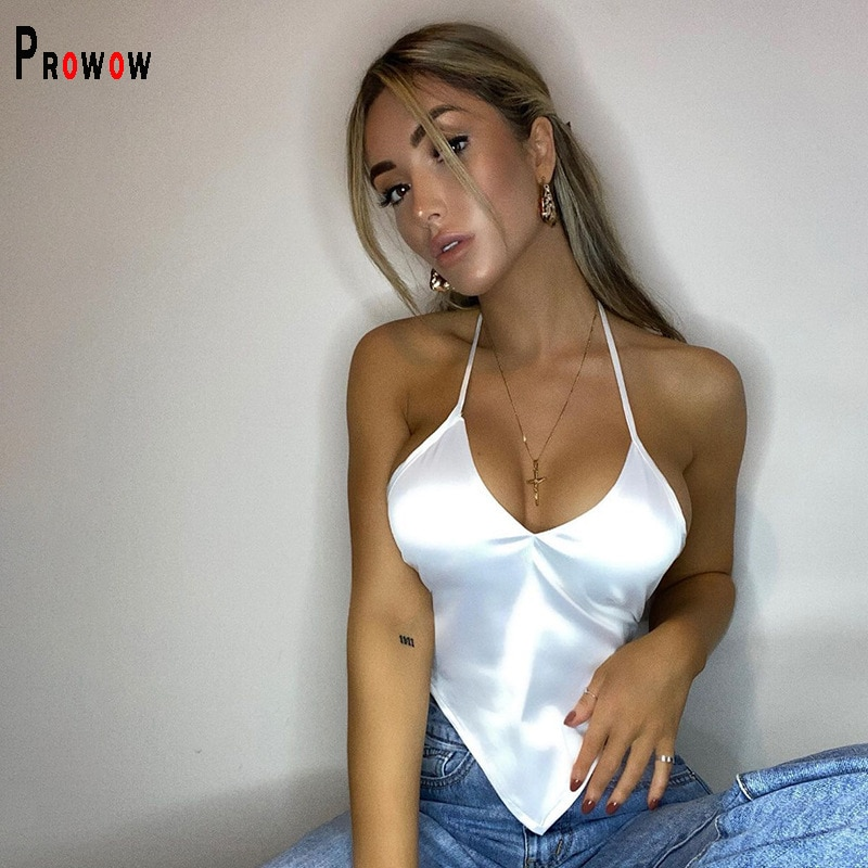Prowow Sexy Halter Tops V-neck Solid Color Sleeveless Top Clothes for Woman 2021 New Summer Lace Up Backless Party Streetwear