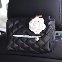 Creative קמליה פרח רכב תיבת רקמות כיסוי עור תליית אוטומטי רקמות נייר מחזיק נייד אוטומטי נייר תיק אביזרי רכב