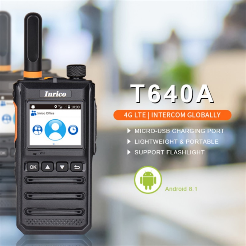 Inrico T640A Android 8.1 4G Network Walkie Talkie Antenna Separate Wireless Military POC Radio with GPS Bluetooth Wifi