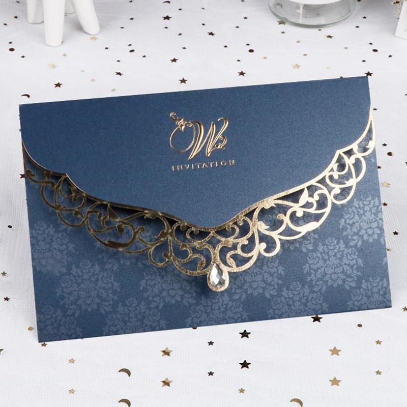 50pcs Elegant Laser Cut Wedding Invitation Card Business Greeting Card With Diamond Customized Wedding Decoration Party Supplies