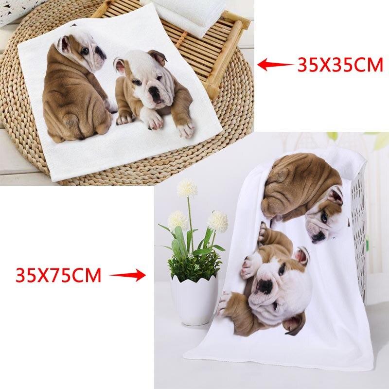 Toallas cuadradas con estampado de perro Bulldog personalizado, toalla de secado rápido absorbente de microfibra, pañuelo de tela para niños