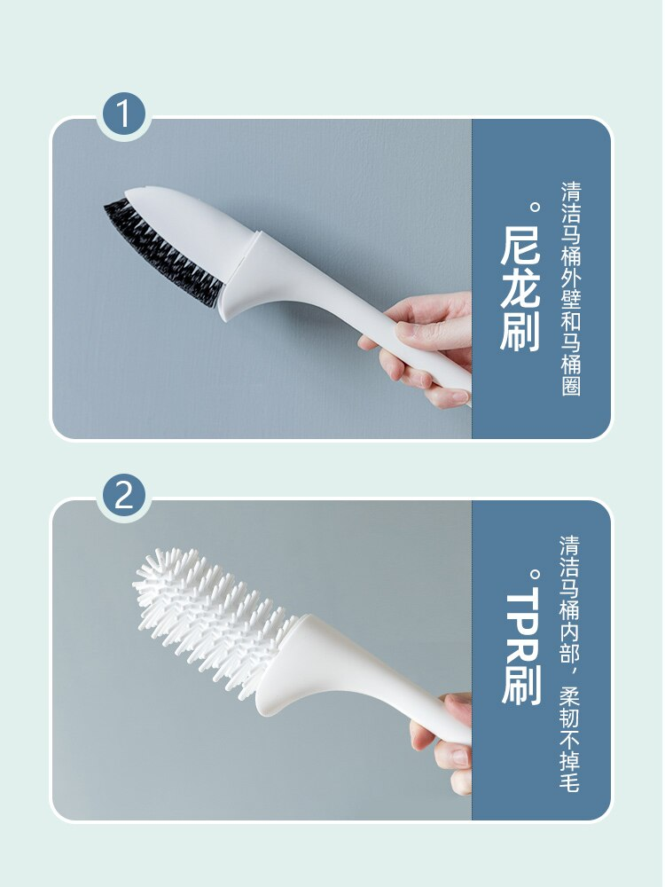 Useful Creative Toilet Brush Set Curved Convenient Soft Silicone Toilet Brush Simplicity Szczotka Wc Bathroom Products DK50TB enlarge