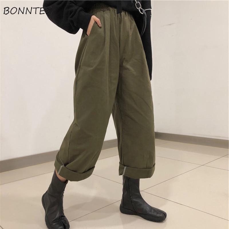 5xl Pantalones de mujer de talla grande sueltos de cintura alta Streetwear sólido negro pantalones de chándal para mujer estilo de calle coreano de moda