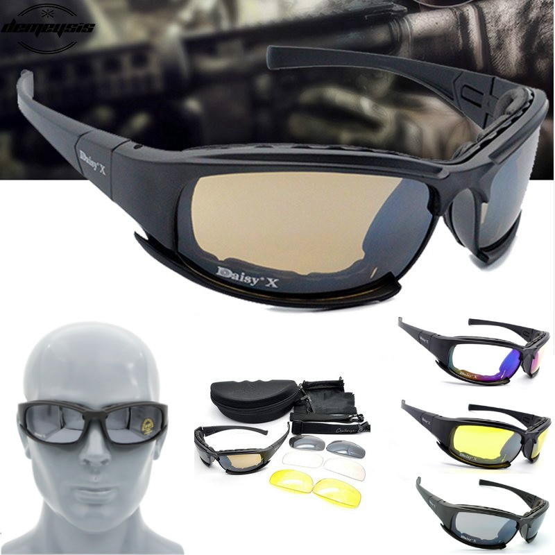 X7 Tactical Polarized Glasses Military Goggles Army Sunglasses with 4 Lens for Hunting Shooting Cycl