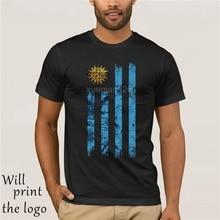 2019 Tee Shirt For Men O-Collo Tops Uomo Candymix Uruguay Grunge Flag T-Shirt uomo T-Shirt Top