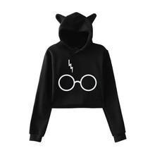 Harry Printed Cat Ears Hoodies Women Girls Express Platform 9-3/4 Cropped Hoodie Sweatshirt Fashion