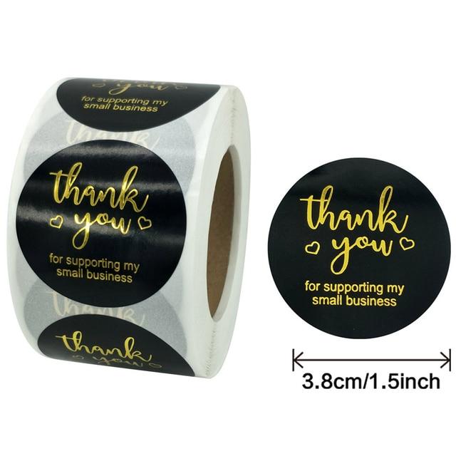 500pcs Gold Foil Thank You Stickers 10