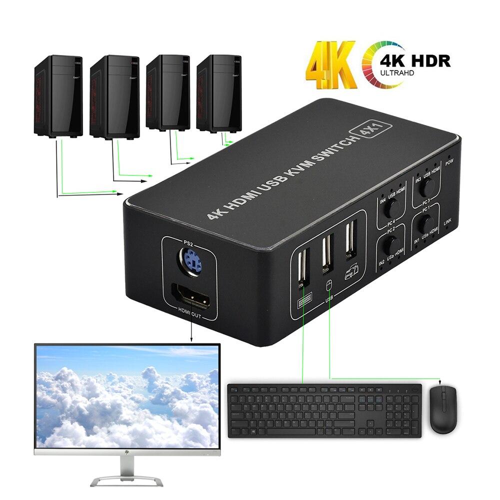 4 port HDMI KVM Switch 4K USB HDMI KVM Switcher 4 in 1 out Hot key 4KX2K/30HZ HDMI 1.4 win10/8/mac os PC laptop