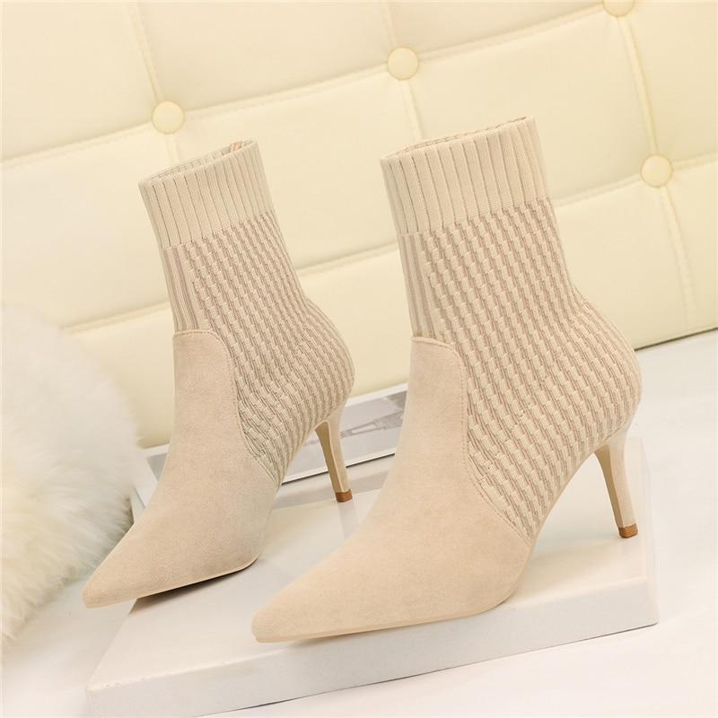 2020 botas femininas ponta do dedo do pé fio elástico 7cm finos saltos altos meias botas bege preto feminino tricô tornozelo botas tamanho grande sapato