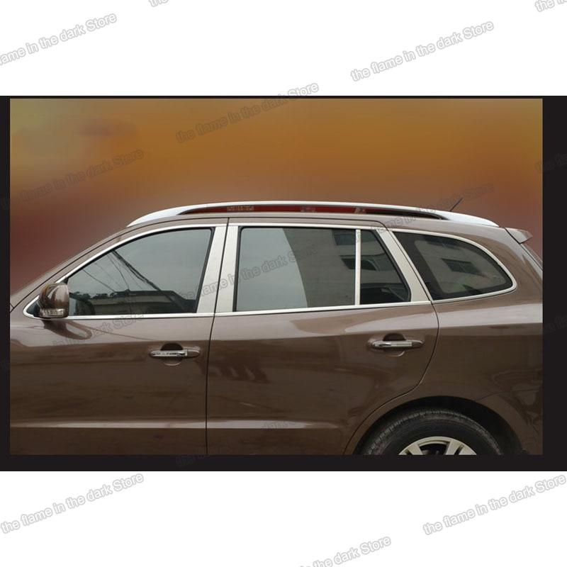 stainless steel car window trims for Inokom santa fe 2006 2007 2008 2009 2010 2011 2012 hyundai accessories decoration auto enlarge