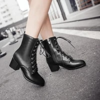womens pu leather lace up ankle boots plus size block high heel winter shoes plush lining l11