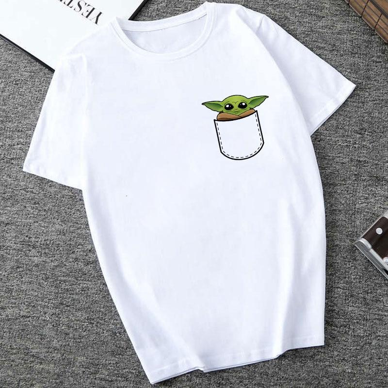 Showely STAR WARS hommes/femmes nouveau drôle minuscule Yoda imprimé T-shirt dame fantastique mandalorien enfant conception hauts t-shirts de nouveauté