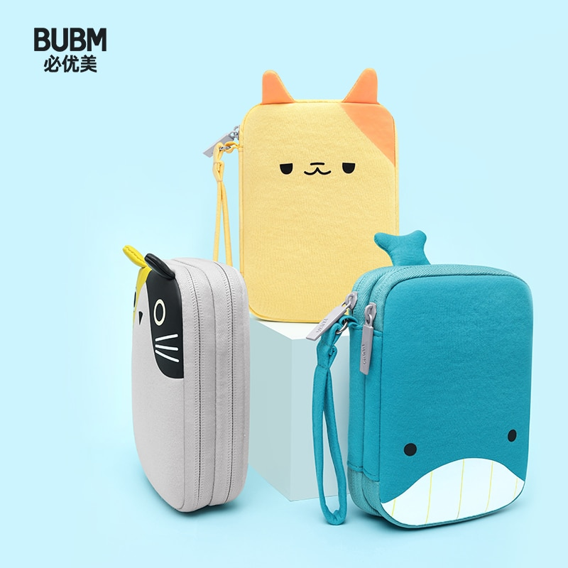 BUBM Cute Cartoon Hard Drive Storage Bag Mobile Power Bank Protective Box USB Cable Bag External Storage Battery Carrying Case