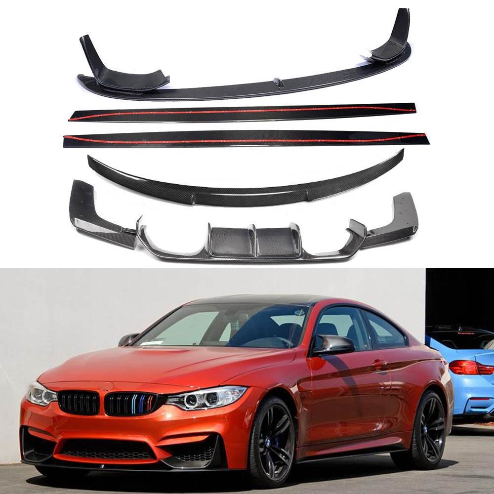 Carbon Fiber FRONT LIP BUMPER SPOILER+REAR TRUNK DIFFUSER +SIDE BODY KIT COVER FOR BMW F80 M3 F82 M4 2014 2015 2016 2017