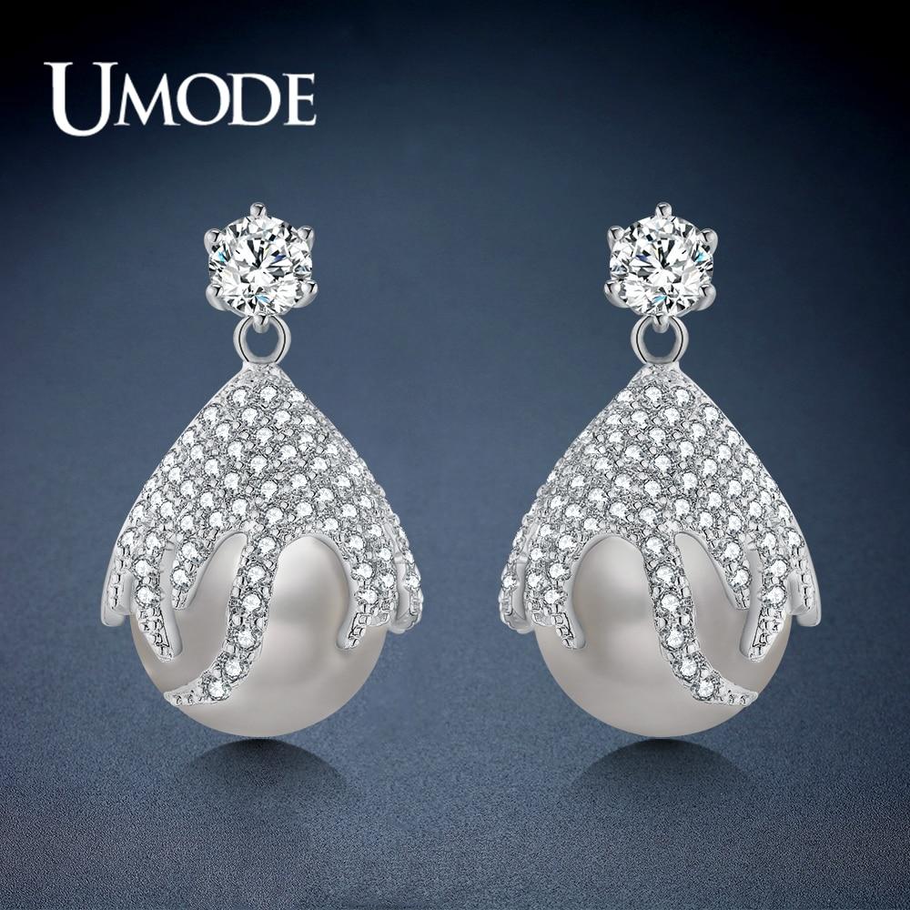 Umode coreano elegante balançar pérola branco strass brincos de gota para mulheres de luxo moda jóias oorbellen cabides ue0453
