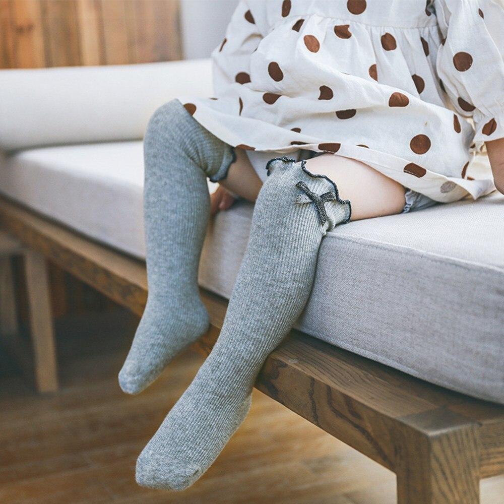 Baby Socks Knitted Cotton Long Tube Socks Kids Knee High Toddler Socks Kids Girls Lace Cute Socks Baby Stockings baby knee socks cotton funny pom pom socks boys girls meias fashion autumn kids long socks knee high toddler girls brand 0 4y