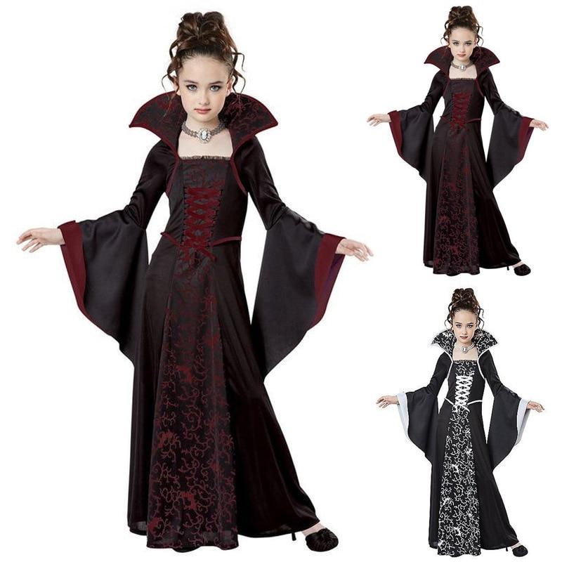 Enfants Vampire Cosplay Halloween robe pour fille sorcière Vintage effrayant Costume Performance carnaval fête médiévale jour des morts