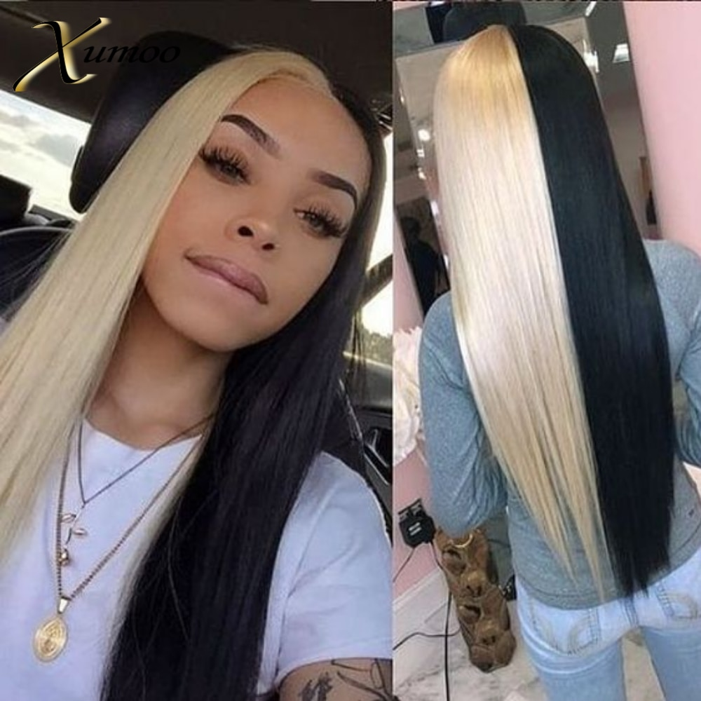 XUMOO Pre-plucked Remy Hair Straight Half Blonde Half Black Wig Human Hair Brazilian Highlight Lace Front Wigs For Black Women
