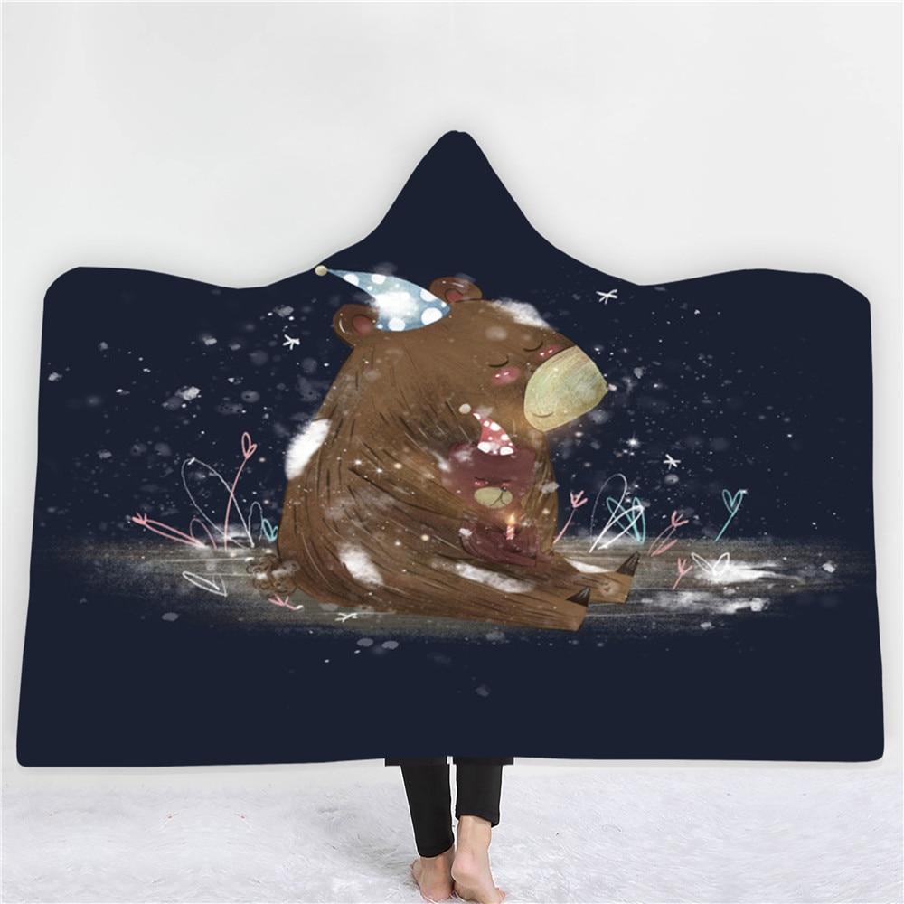 الغابات Elf الدب خنزير الحيوان هوديي لبس بطانية الصوف بطانية مريحة فائقة لينة خفيفة الوزن الدافئة الكبار الاطفال هدية