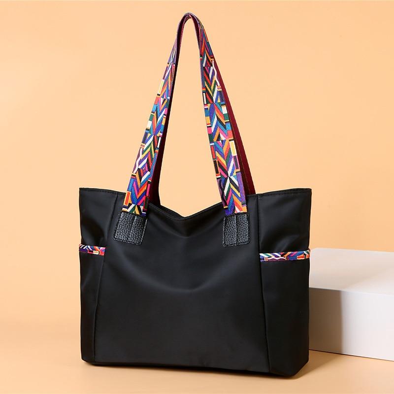 aliwood New Large Capacity Nylon Women Shoulder Bags Simple Colorful Shoulder Strap Waterproof Casual Tote Shopping Bag Handbags