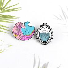 Retro Magic Mirror Brooch Badge Jacket Clothing Lapel Jewelry Backpack Pins Fashion Dress Coat Acces