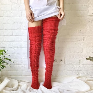 1 Pair Mohair Knit High Stockings For Women Winter Accessories Solid Red Colorful Sewing Over The Knee Socks 75cm