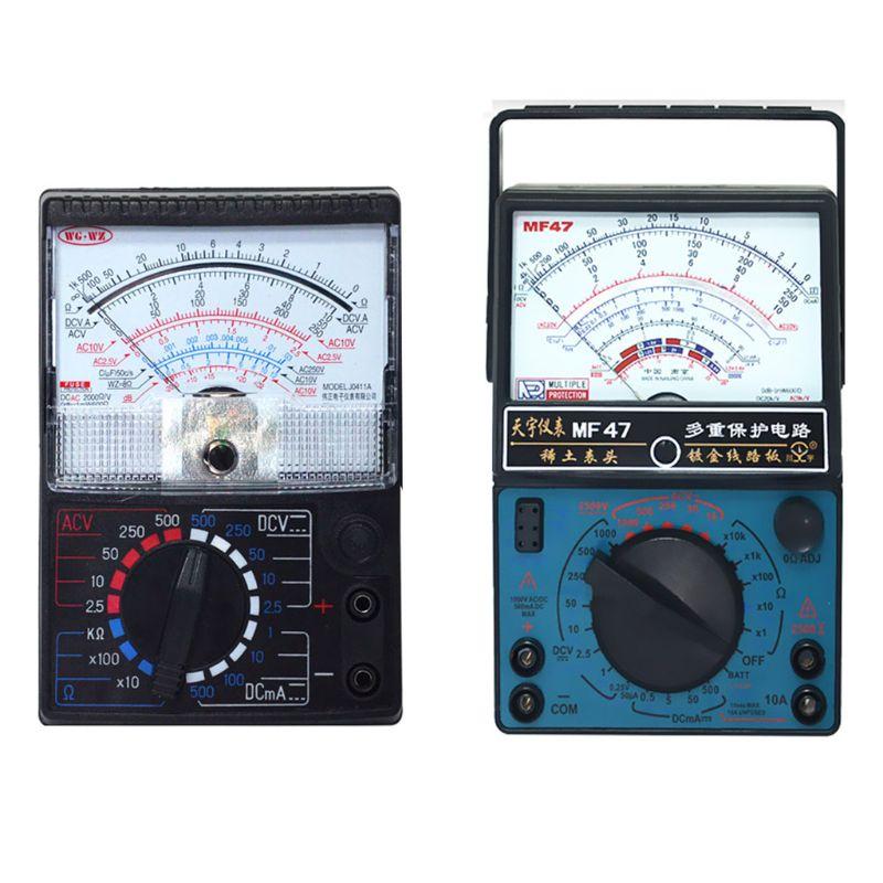 Portátil mecánico puntero tipo multímetro medición AC DC amperímetro medidor de corriente de ohmímetro MF47/JO411 Multitester