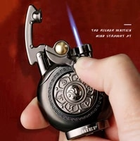 creative metal rocker ignition fire fighter cool lighter windproof straight blue flame cigar cigarette accessories mens gift