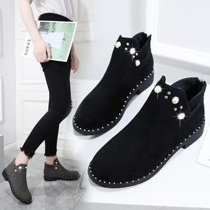 Женские короткие ботинки, женские модные короткие ботильоны, кожаная обувь, кроссовки, женская зимняя обувь, теплые ботинки из флока, женска...