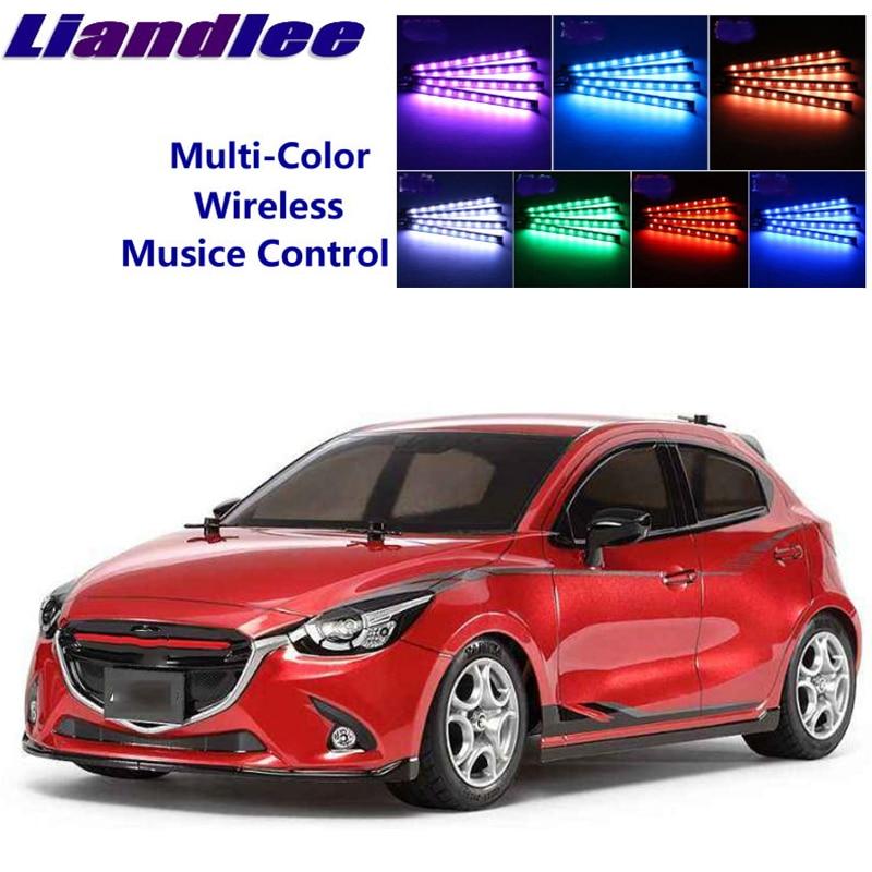 LiandLee Car Glow Interior Floor Decorative Atmosphere Seats Accent Ambient Neon light For Mazda2 Demio DJ MK4 2014~Onwork