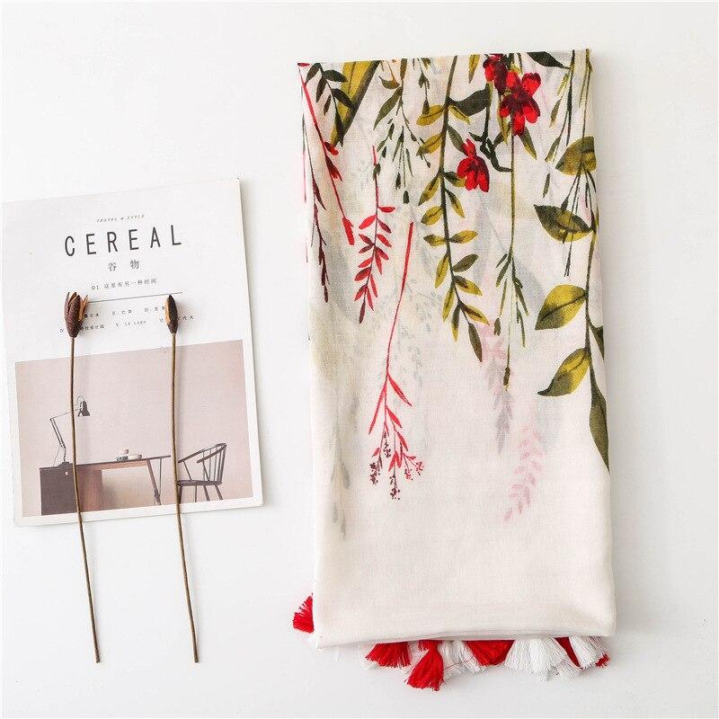 Retro flowers cotton and linen tassel scarf with silk scarf female ethnic wind beach art ethnic geometry pattern tassel scarf