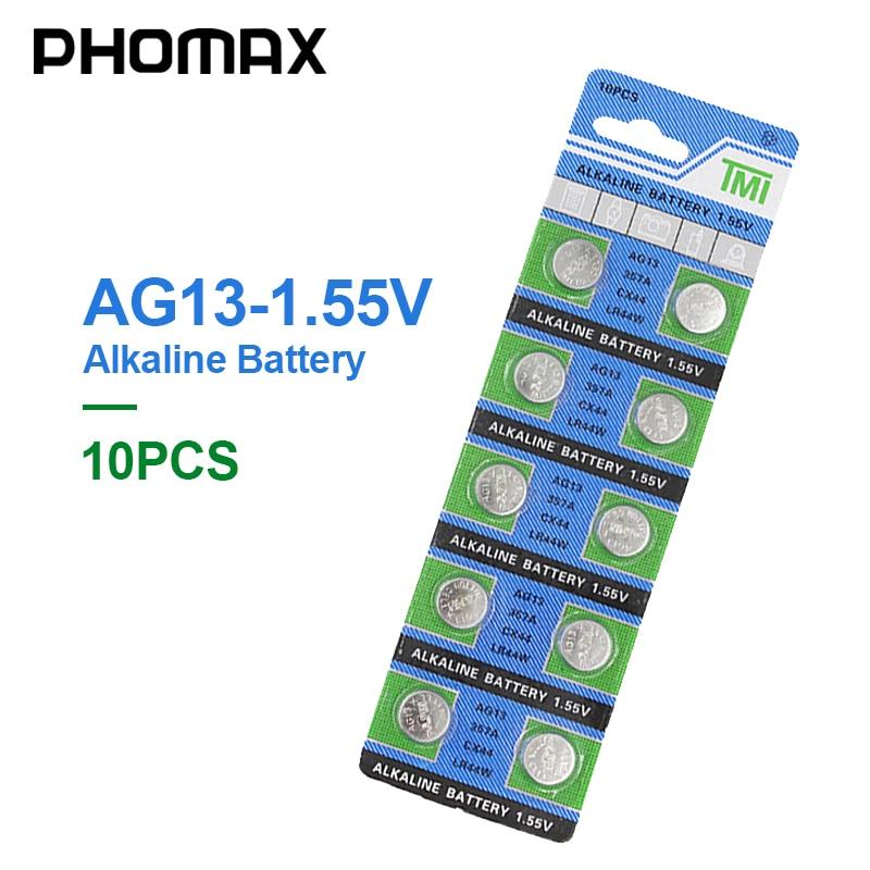 PHOMAX кнопка батареи AG13 10 ⑤ упак. LR44 SR44 SR47 GP76 AG 13 1,55 V Щелочная батарея для часов лазерная ручка PDA цифровая камера