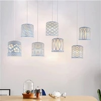 creative hollow wrought iron art lampshade minimalist white bed lamp cover dinning chandelier lamp shade home decoration
