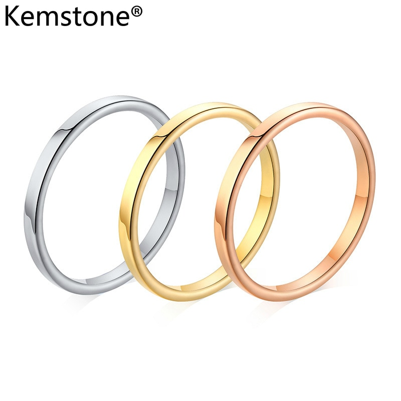 Kemstone 2MM Simple de acero inoxidable oro rosa oro negro de plata anillo de mujer, joyería de regalo tamaño 3-10