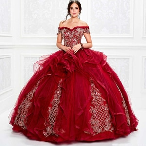 Off the Shoulder Red Quinceanera Dresses Tiered Skirts Appliqued Beads Ball Gown Girls Pageant Gowns Formal Prom Dress
