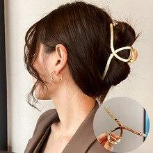 2021 חדש נשים אלגנטי זהב כסף חלול גיאומטרי מתכת שיער טופר בציר שיער קליפים בגימור מכבנת אופנה שיער אבזרים