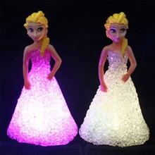 1 pièces enfants jouet Elsa Anna Sofia lampes LED colorées dégradé cristal veilleuse LED lampe batterie princesse noël vacances cadeau