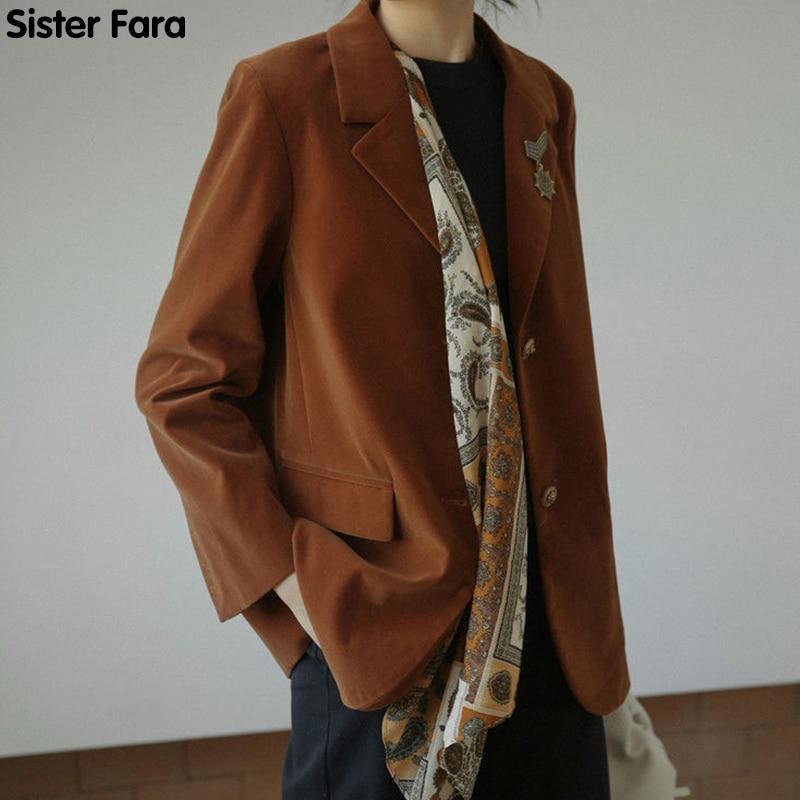 الأخت فارا شيك مع وشاح حريري السترة سترة نسائية ربيع 2021 جديد قصيرة رقيقة سترة سترات عادية الخريف السيدات بليزر