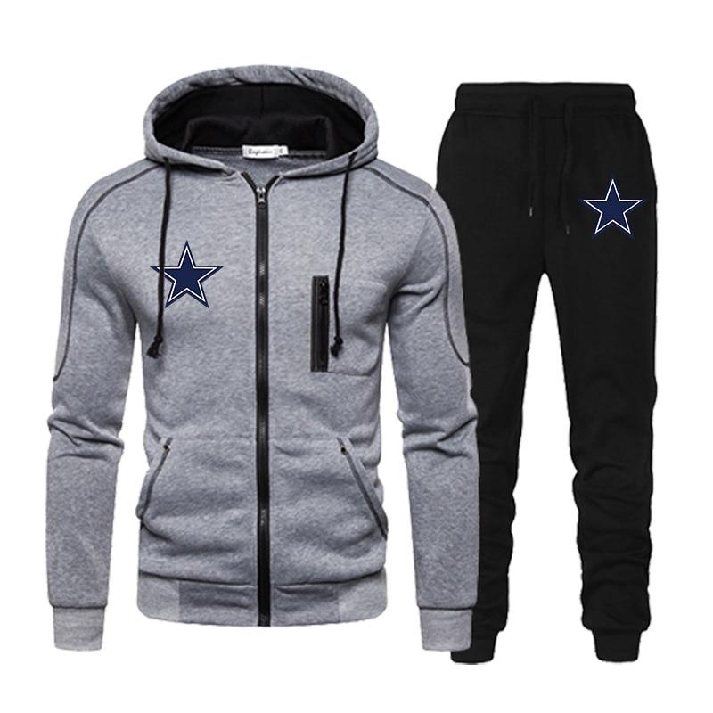 Мужские толстовки на молнии и черные спортивные брюки, высококачественные мужские повседневные спортивные куртки с капюшоном и длинным ру...