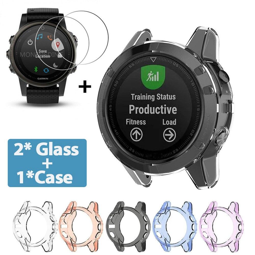 Tpu macio capa protetora escudo para garmin fenix 5 5S 5x plus caso protetor de tela relógio inteligente para fenix5 5S 5x vidro
