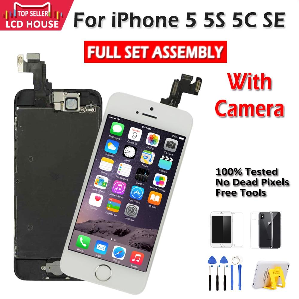 Conjunto completo de pantalla LCD para iPhone 5, 5G, 5S, 5C, SE, LCD táctil, digitalizador, pantalla completa de repuesto, calidad AAA, llave de casa