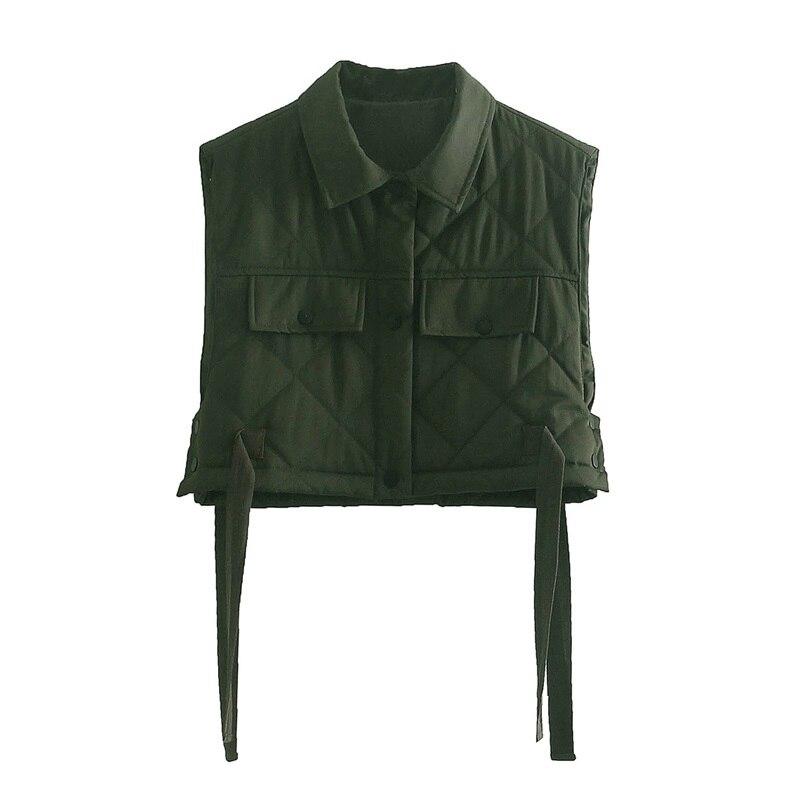 Women 2021 Green Pocekts Quilting Cropped Vests  Fashion Side Buttons Tie Turn-down Collar Waistcoat Streetwear