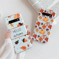 pumpkin autumn fall leaves phone case transparent for samsung galaxy a s 7 8 11 21 50 30 81 51 90 5g 20 e ultra m60s