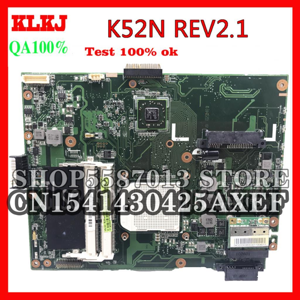 KLKJ K52N ل ASUS K52N X52N A50N اللوحة الرئيسية REV2.1 اللوحة ل ASUS K52N اللوحة الأم اختبار متكامل