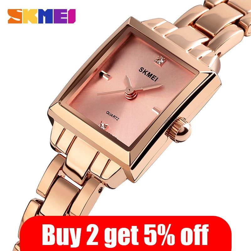 2020 SKMEI Luxury Brands Women Quartz Watches Ladies Watch Metal Strap Female Watch Relogio Feminino Ladies Wristwatches 1407 enlarge