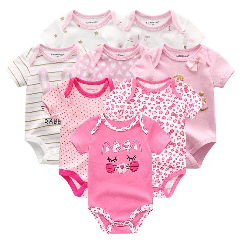 2021 Unisex Baby Meisje Kleding Katoen 8Pcs Pasgeboren Solid Bodysuit Baby Boy Kleding Sets Cartoon Korte Mouwen Afdrukken Ropa bebe