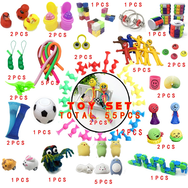 Funny Stress Relieve Fidget Toy Combination 55 Pieces Extrusive-Solving Kids Hot Selling Various Styles Set Wholesale