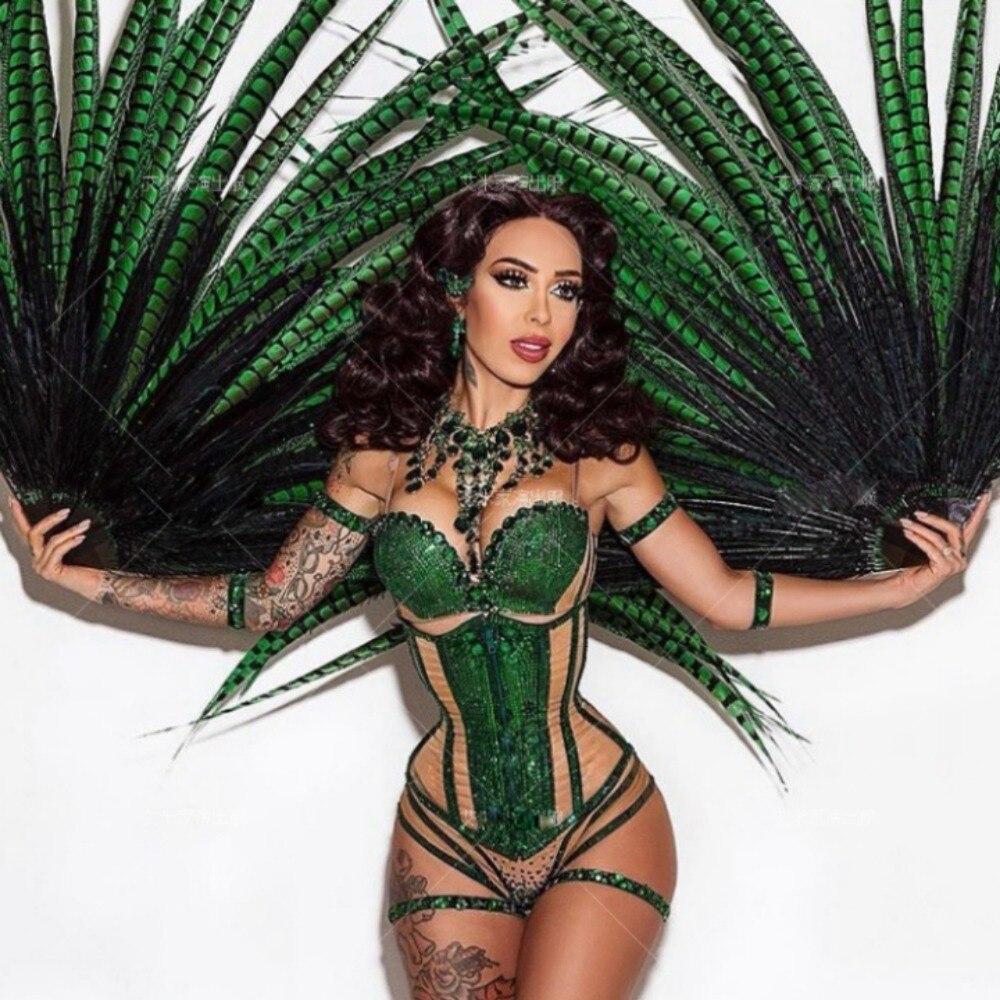 sexy green hot drilling Full diamond feather fan corset  bar ds nightclub female gogo costume